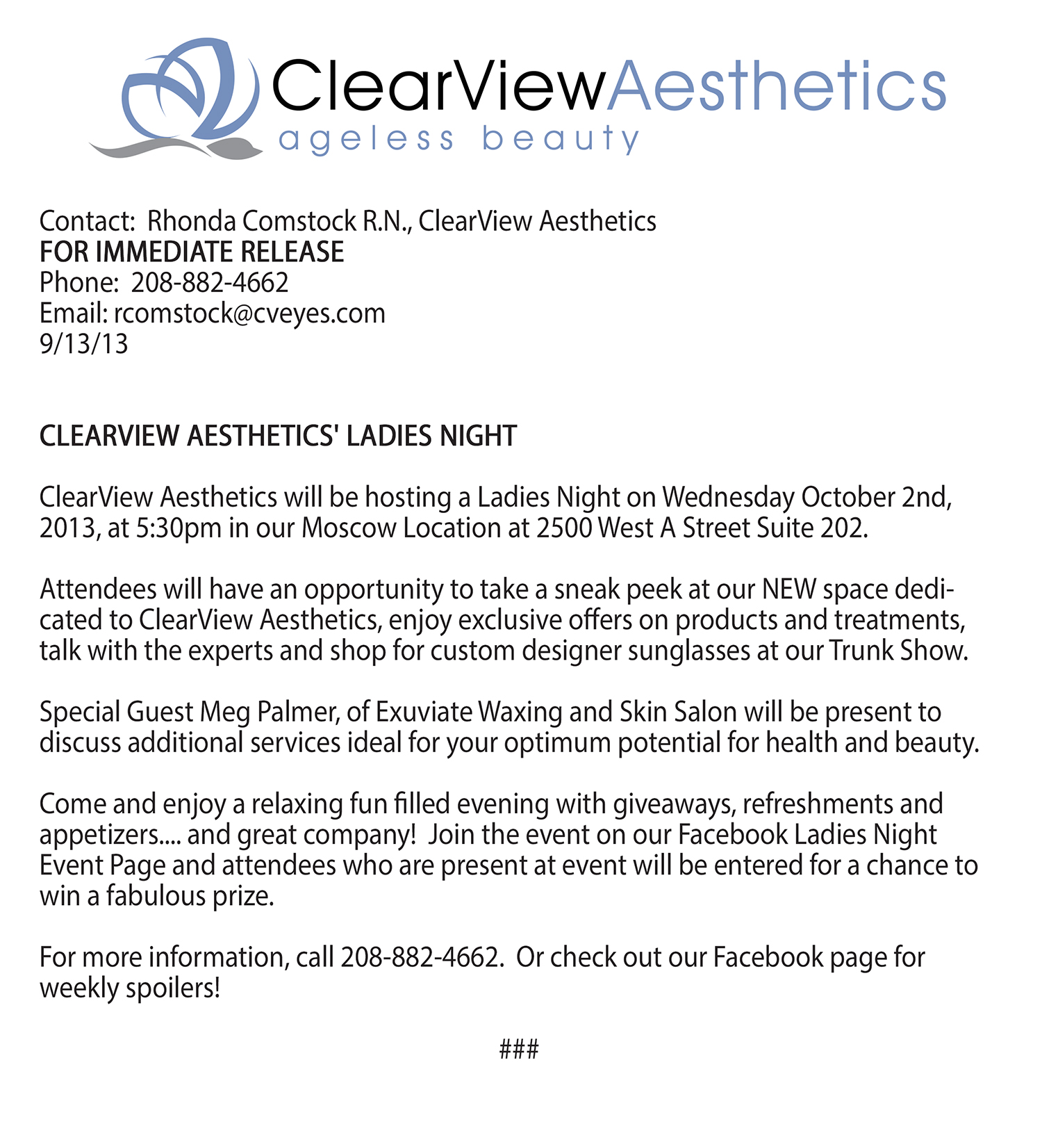 Ladies Night Press Release October 2013